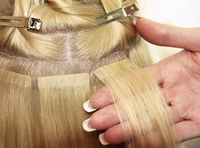 Hair extensions toronto tape beaded clip in extensions this method is similar to sewn weave in the effect that it uses wefted hair there is no sewing involved the wefts are applied to the roots of the clients pmusecretfo Images